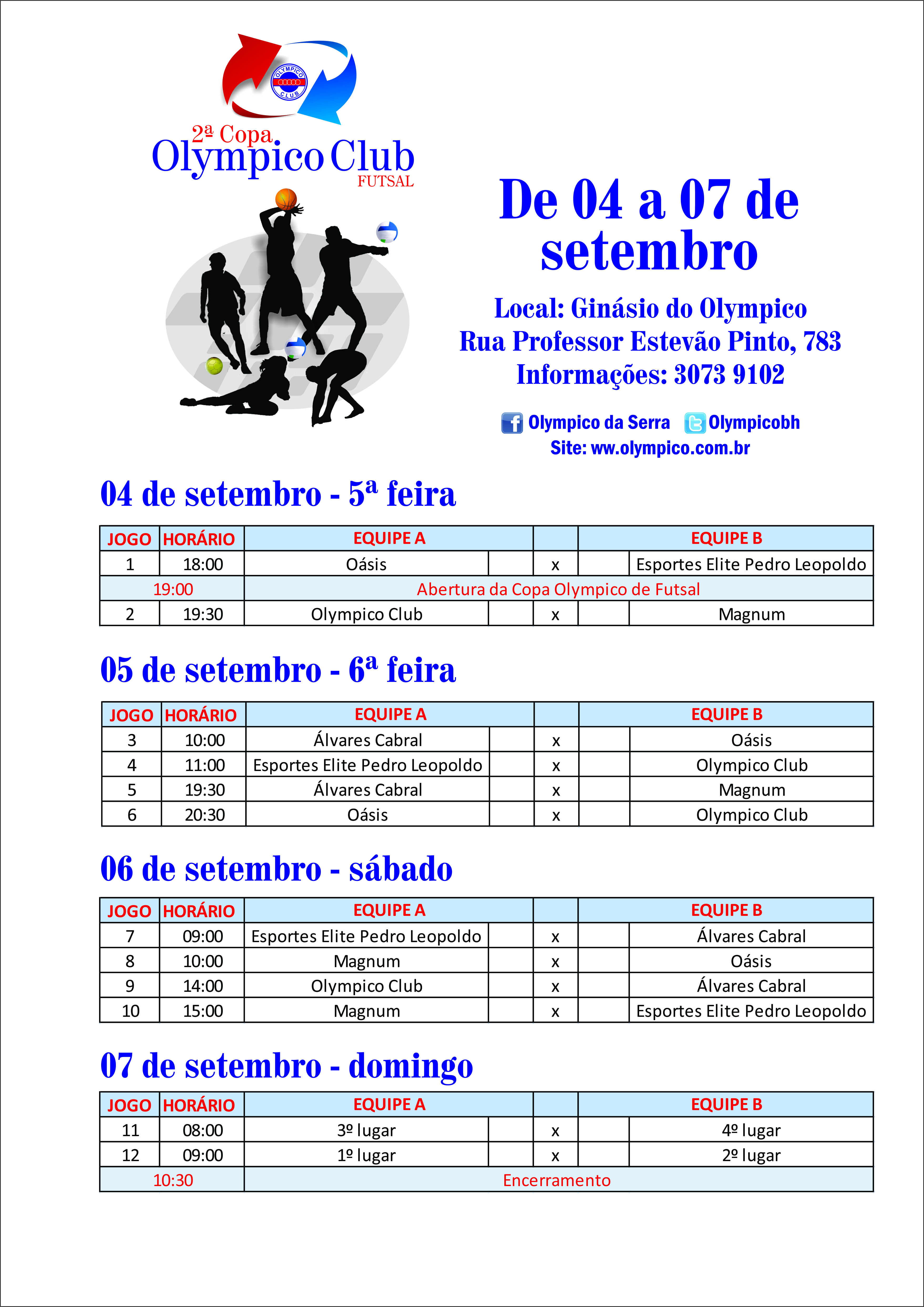 tabela dos jogos FUTSAL