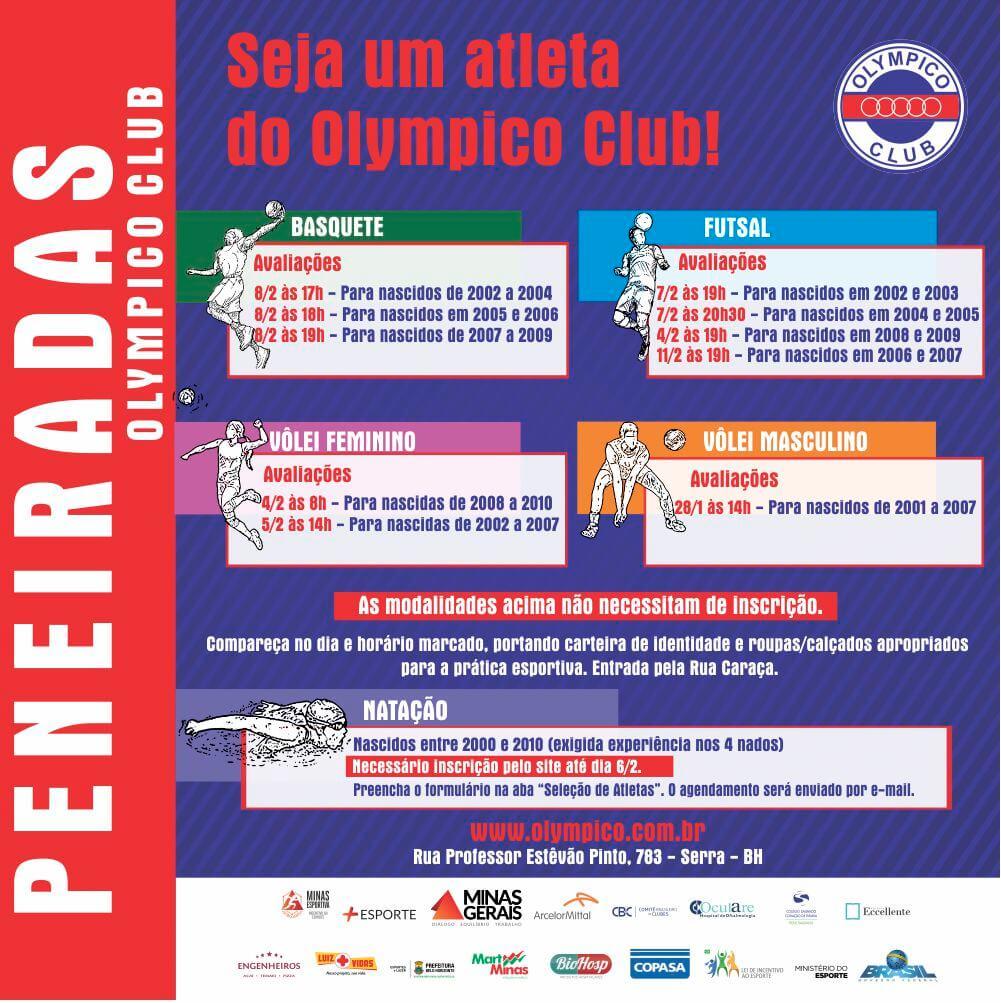 aaf49379fc O Olympico Club é referência quando o assunto é revelar atletas. Grandes  nomes do Esporte iniciaram no Clube. Nos meses de janeiro e fevereiro, ...